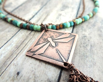 Dragonfly Necklace - Green Beaded Necklace - Nature Jewelry - Nature Necklace - Etched Copper Pendant - Summer Jewelry - Whimsical Necklace