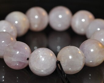 12 Pieces 9mm Precious Gems~Natural PINKISH LAVENDER KUNZITE Round Beads - L1082