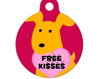 Happy Valentine's Day Puppy Yellow Dog Free Kisses Pet Tag, Dog Tag, Cat Tag