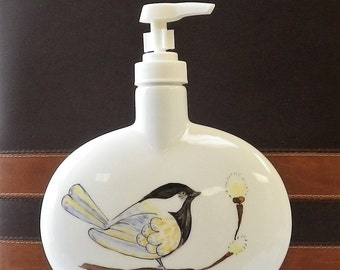 Black Capped Chickadee Porcelain Lotion or Soap Dispenser