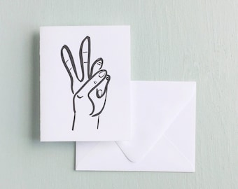 Letterpress Card- Peace Sign
