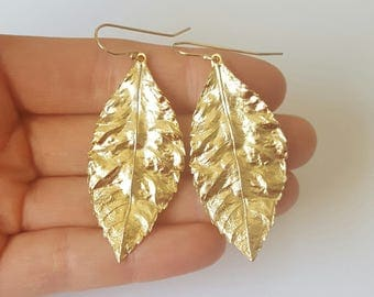 Gold Leaf Earrings,  Gold Plated Brasd Earrings, Gold Filled Hooks, Birthday Gift, Bridesmaid Gift, Mother Gift