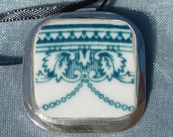 Broken China Pendant ~ Carr China Esquire Pattern ~ Teal  on White