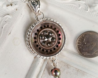 Antique Mother of Pearl Cut Steels Pierced Chocolate Fresh water Pearl Button Pendant Necklace