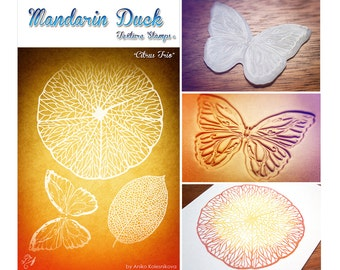 CITRUS TRIO Mandarin Duck Texture Stamp - silicone, polymer, ink, papercrafts, fabric, polymer clay