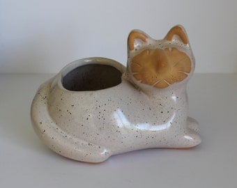 Vintage David Stewart Lions Valley Stoneware Cat Planter