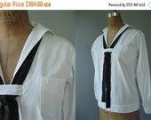 SALE... Vintage 1920's Sailor Top - Plus Size Middy Top - White  Chambray - Jack Tar Togs