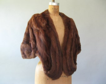 Vintage 1950's Mink Stole - 50s Red Brown Evening Wrap