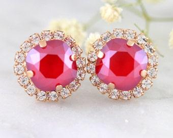 Red Ruby Earrings, Dark Red Earrings, Ruby Earrings, Swarovski Ruby Earrings, Christmas Gift,  Bridesmaids gift, Bridal Cherry Red Earrings