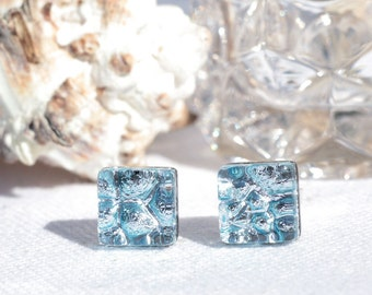 "Small Dichroic Glass Stud Earrings, Fused Glass Jewelry, Sterling Silver, Square - Winter Ice, Shiny Silver  <3/8"" or 9mm (Item #30939-E)"