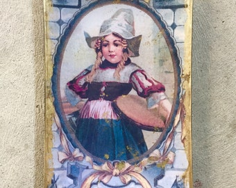 5x8 in Decoupage Dutch girl plate