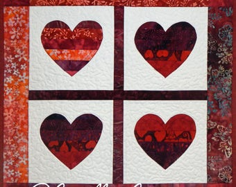 Four of Hearts Wall Quilt, 5078-0, heart Wall hanging, heart table mat, heart wedding gift