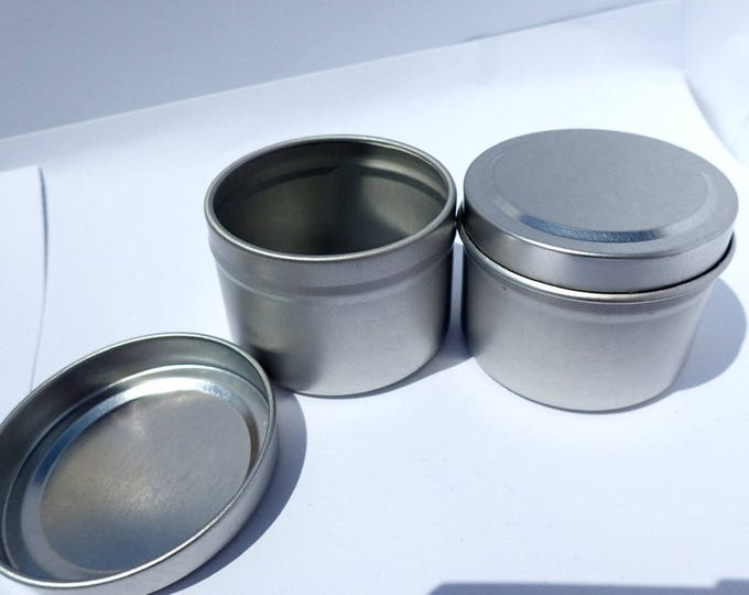 Silver Round Tin with Lid - 2 ounces Circle - Seamless and Food Safe - Use for Wedding Favors Candles or Gifts - Just 1