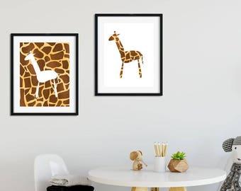 Kids Wall Art Printable sign for Nursery or Playroom  - Digital Download - Giraffe Print - yellow gold and brown safari home decor