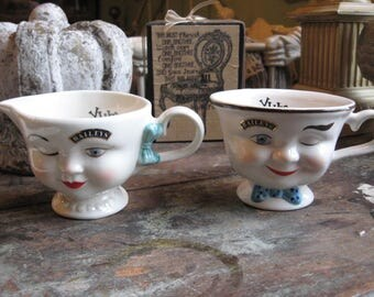 Bailey's Winking Face Gal Creamer & Winking Guy Face Cup WhiMsiCaL! YuM!