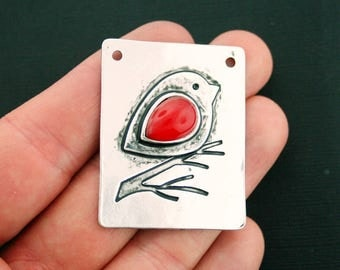 Bird Connector Charm Antique Silver Tone and Red Enamel Large Size So Pretty - SC6810