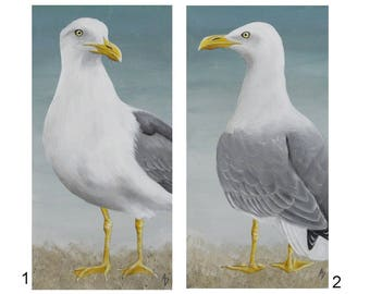 Sea Gull shore bird painting - seaside beach house decor - seagull painting - gull painting - beach wildlife - sea shore landscape