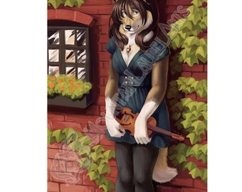 Wolf Girl with Violin  Furry Art - ATC mini print of Anthro Art - Violin and Ivy Canid Furry - ACEO Print