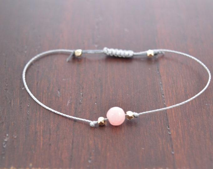 Pink Morganite Bracelet, stacking bracelet, wish bracelet, best friend gift, minimalist jewelry, best friend bracelet, beaded bracelet