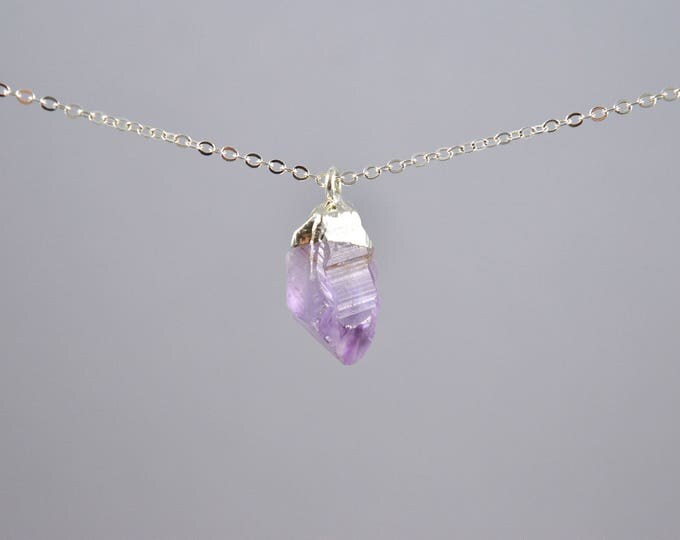 Raw Amethyst Crystal Point Necklace, February Birthstone, Amethyst Pendant, Amethyst Crystal, Purple Necklace, Silver Layer Necklace