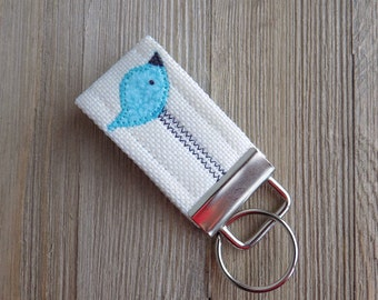 Bird key chain with teal bird, Key fob with sea foam teal bird, teal bird key chain, mini key fob, fabric key fob with bird, blue bird