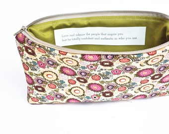 Cosmetic Bag with Inspirational Quote, Coral and Pink, Personalized Makeup Bag Gift Idea, Be Authentic, MADE TO ORDER