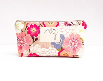 Large Floral Zipper Pouch, Personalized Cosmetic Bag, Bridal Shower Hostess Gift, Floral Makeup Case MADE TO ORDER by MamaBleuDesigns