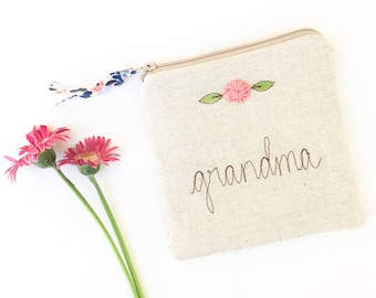 Grandma Gift, Personalized Grandmother Gift, Grandmother Wedding Gift, Zipper Bag, Zipper Pouch, Rifle Paper Co Fabric Jewelry Bag