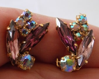 Vintage marquise purple and AB crystals 1950's elegant clip-on earrings,jewelry