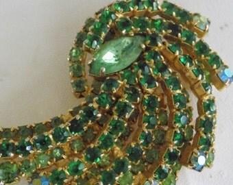 "Vintage brooch, dimensional green and AB crystal 1950s ""spray"" brooch, retro brooch, madmen brooch, vintage jewelry"