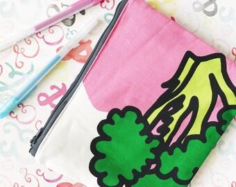 Broccoli veggie zipper clutch pouch cosmetic or pencil bag