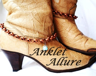 Turquoise Boot Chains Copper Boot Jewelry Western BoHo Boot Bracelets Foot Jewerly