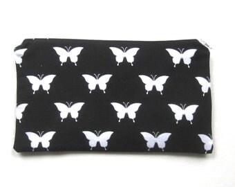 Butterflies Fabric Zipper Pouch / Pencil Case / Make Up Bag / Gadget Sack