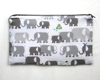 Elephants Fabric Zipper Pouch / Pencil Case / Make Up Bag / Gadget Sack