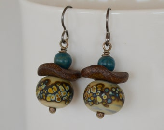 Lampwork Earrings,  Art Bead Earrings, Spotted Earrings, Teal Blue Lucite Earrings, Oxidized Sterling Silver Earrings