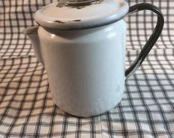 Farmhouse Coffee Pot 1910's White and Black Enamelware Coffee Pot Pyrex Coffee Pot