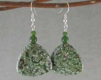 SALE! Prosperity & Earth Healing earrings with Rhyolite and Jade (339)