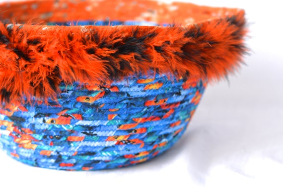 Halloween Basket, Free Shipping.. Handmade Blue and Orange Bowl, Lego Toy Organizer Bucket, Storage Basket, Bin, Container