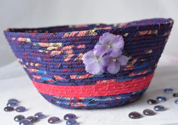 Sale.. Elegant Violet Basket, Handmade Fiber Art Bowl, Lovely Purple Asian Fabric Basket, Unique Makeup Organizer, Hair Dryer Holder