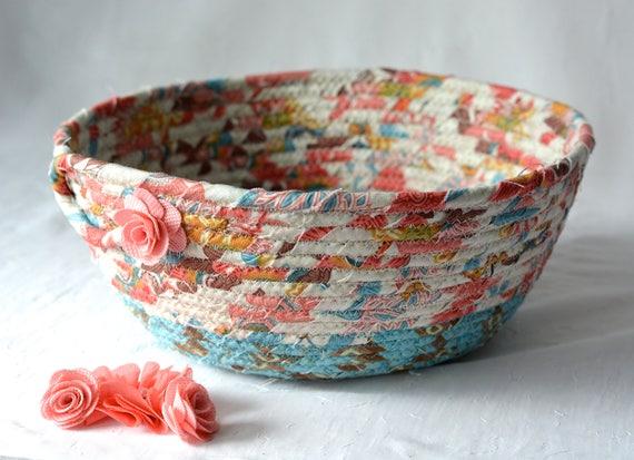 Peach Gift Basket, Handmade Remote Control Holder, Hand Coiled Fiber Basket, Coral Floral Brush Holder, Yarn Bowl, Eyeglass Tray