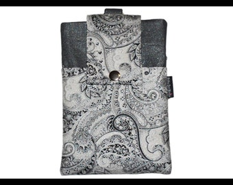 Silver Paisley Contrast Zipper Cell Phone Holder, Wallet, iPhone Case, Samsung Case, Droid, Phone Case