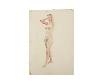 Original Watercolor Nude Painting - Vintage - 1960's - One of a Kind - Portrait of a Woman - Art
