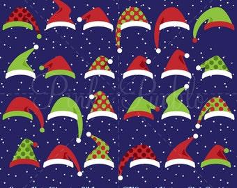 Santa Hat Clipart Clip Art, Christmas Clipart, Christmas Clip Art, Santa Hats Clipart Clip Art - Commercial Use