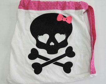Pink Skull drawstring backpack recycled t-shirt