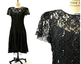 Vintage Black Dress Lace and Sequin Dress Size Large XL// 80s Prom Dress Dress Size Large XL Black Lace Party Dress