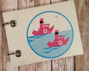 Upcycled  Notebook - Recycled Children's Book - Blank Book  - Refillable Notepad - Pink Boats