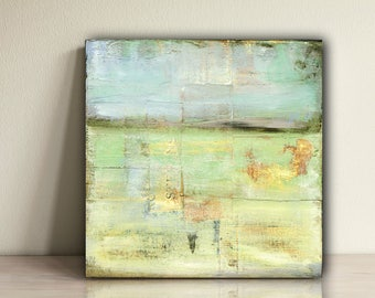 "Abstract Painting: 6""x6"" (15.2cm) Original Mixed Media Art, Abstract Landscape, Contemporary Abstract Art, Pale Blue, Pale Green, ""Pasture"""