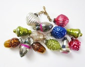 RESERVED Vtg Miniature Ornaments, Antique Holiday Ornaments, Half Inch Tree Ornaments, Mini Mercury Glass Hearts, Mini Glass Decorations