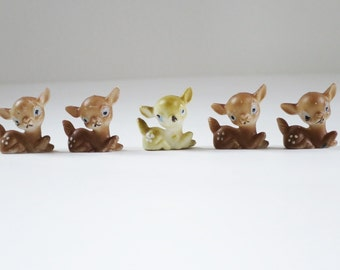 Vintage Miniature Putz Reindeer Figurines, Micro Mini Plastic Deer Fawn, Mini Holiday Village Reindeer Deer, Fairy Garden Reindeer Deer