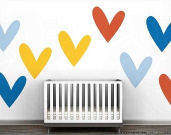 So Much Love Wall Decal Mural by LittleLion Studio - Yellow Heart, Light Blue, Azure Blue Heart, Dark Orange Heart - LOVE